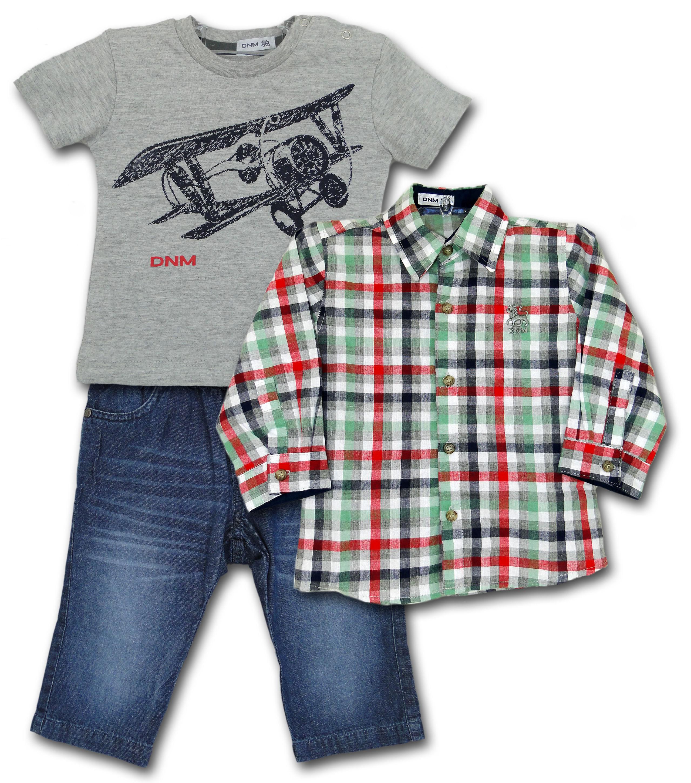 Conjunto Infantil Camisa Xadrez, Camiseta Avião e Calça Jeans Conj. Infantil Camisa Xadrez, Camiseta Avião e Calça Jeans GG