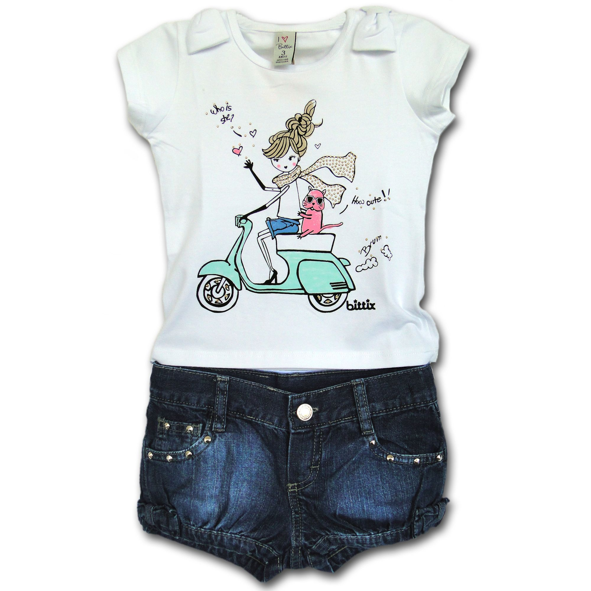 0d25d4305 Conjunto Infantil Camiseta Menina Lambreta e Short Jeans 1T