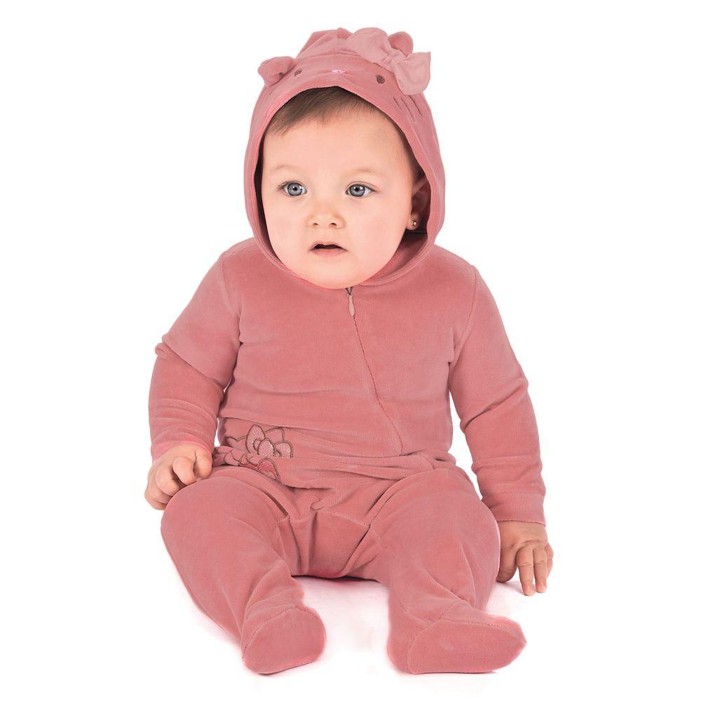 Macac o em plush rosa capuz hello kitty roupa para beb - Hello kitty bebe ...