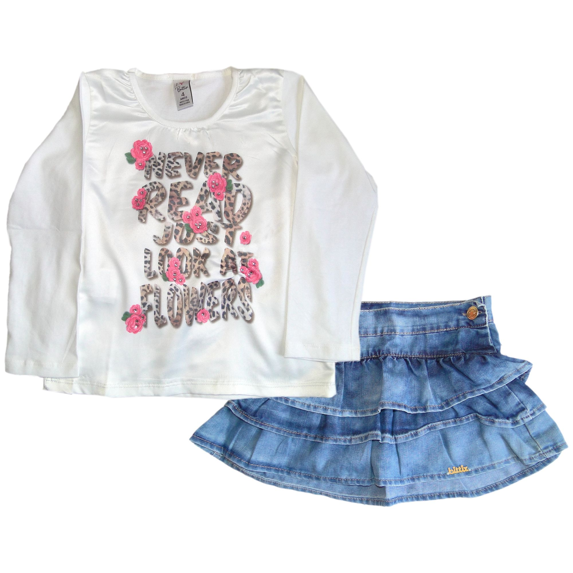 conjunto-menina-saia-rodada-jeans-e-camiseta-flores