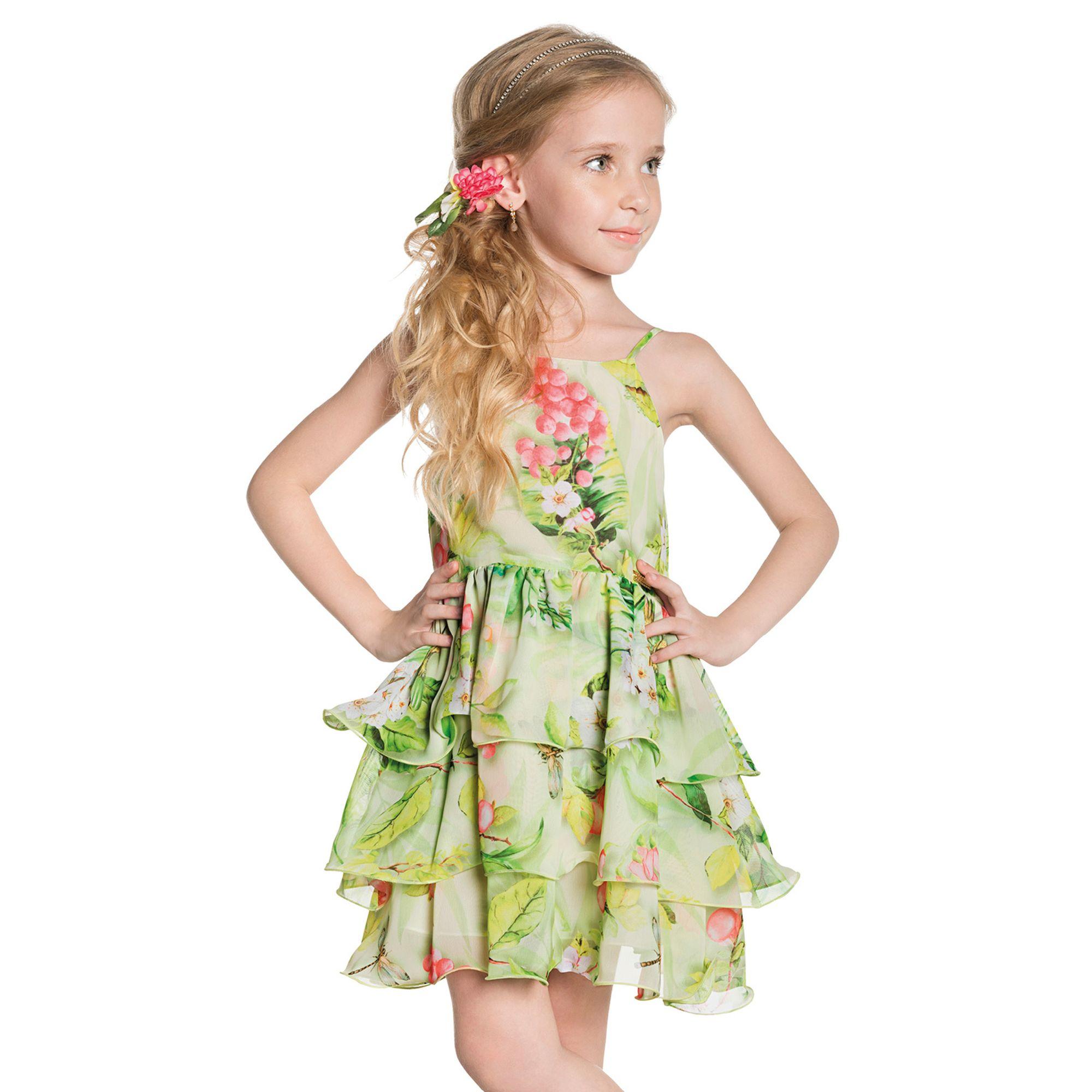 7a6ad58adc500b Vestido Infantil Flores e Folhas Verde Ninali - Roupas para Meninas ...