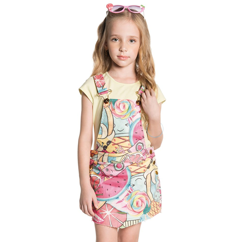 Conjunto menina camiseta amarela e jardineira saia c for Jardineira infantil c a