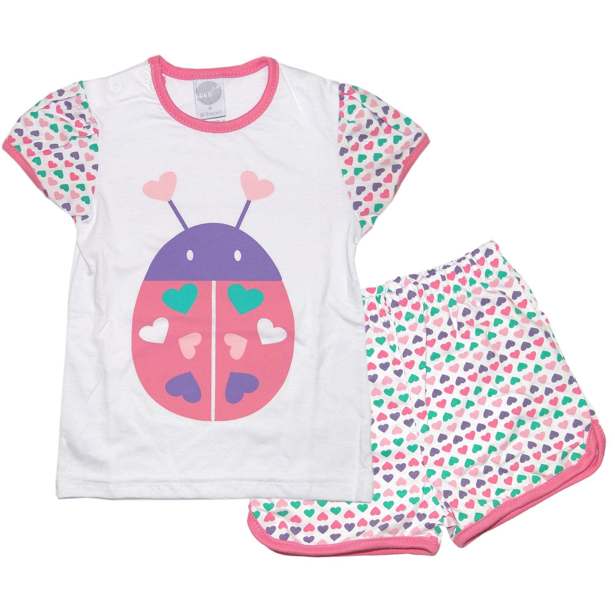 manga curta joaninha rosa club zzz piu piu pijama   camiseta manga