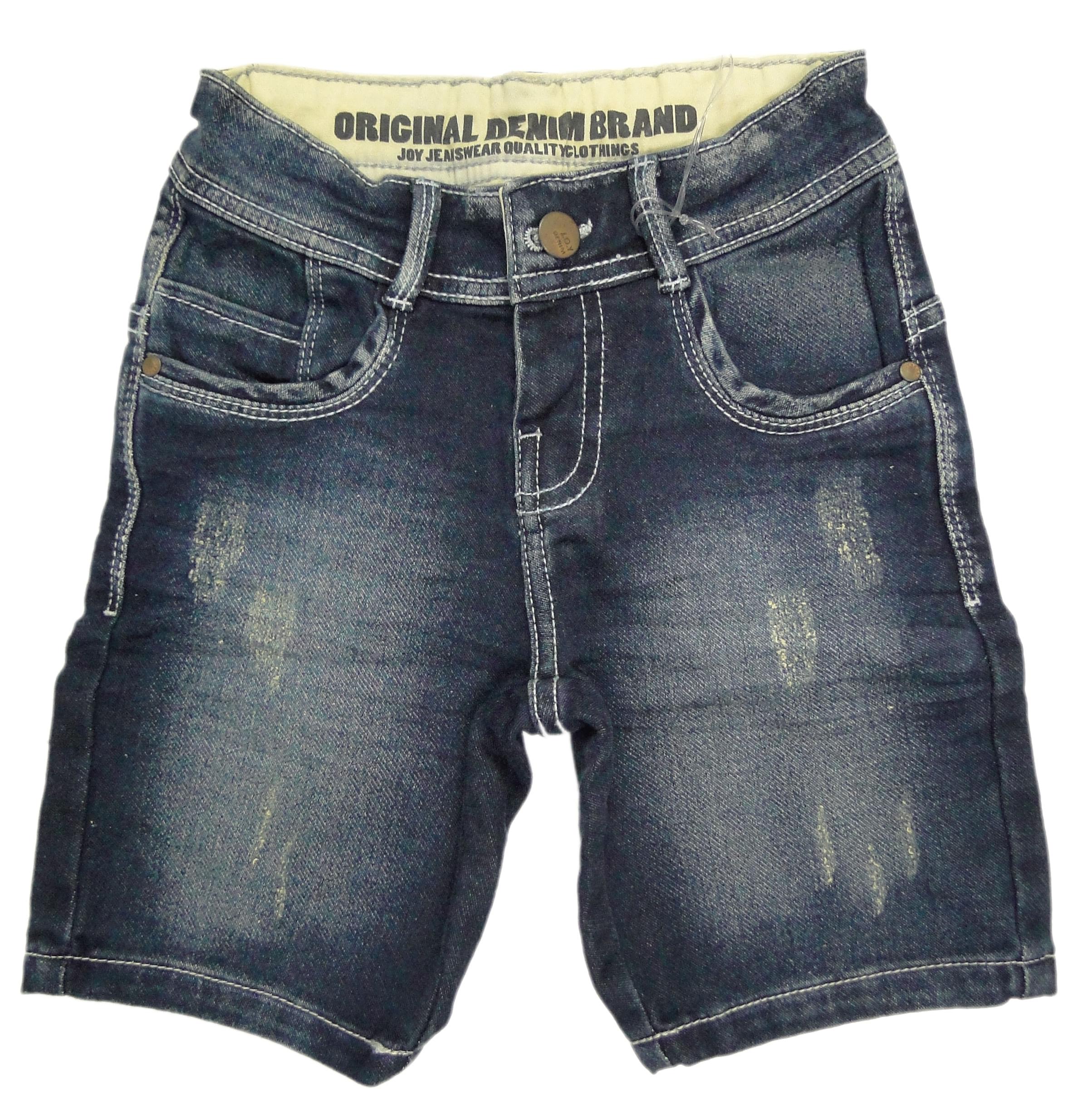 Bermuda Menino Jeans Escuro Detalhe Puído - Joy by Morena Rosa 3anos