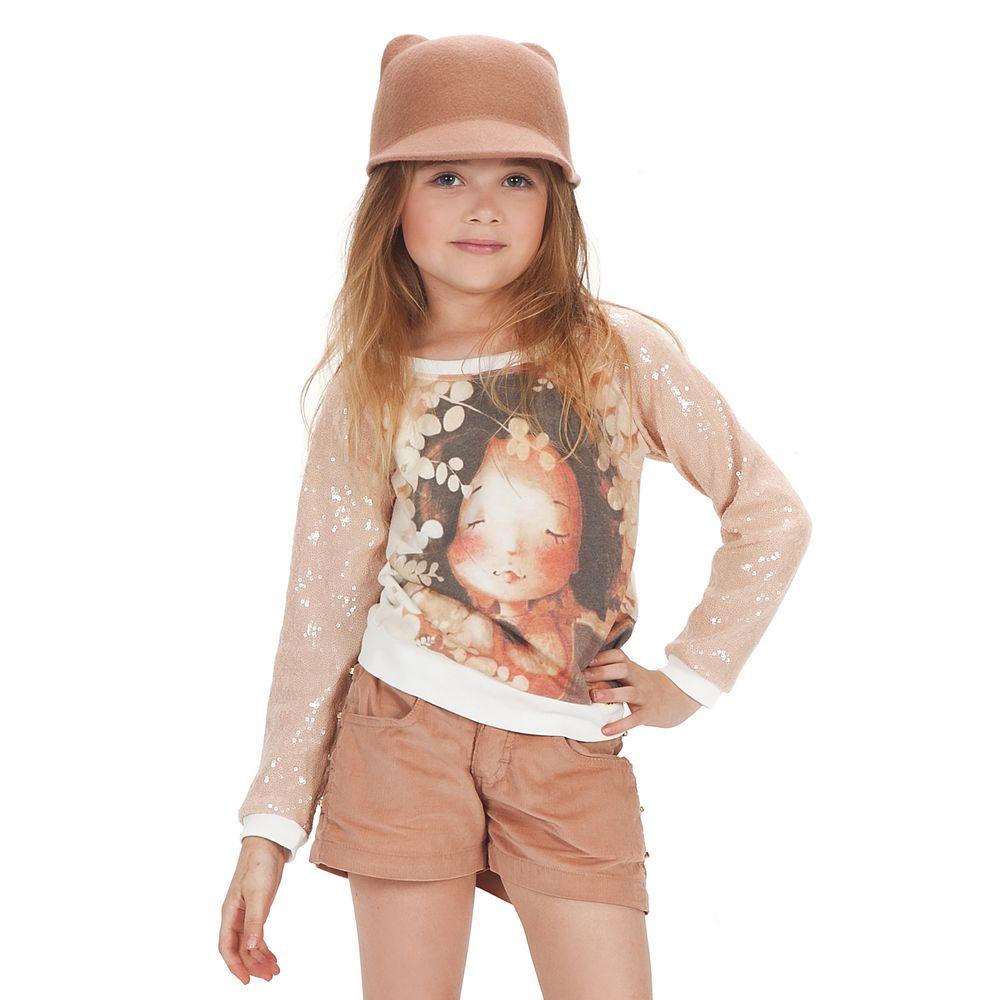 blusa manga longa paetê e short veludo nude gabriela aquarela blusa