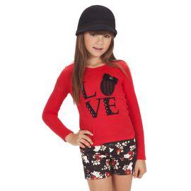 conjunto-infantil-camiseta-vermelha-love-e-short-neoprene-gatinhos-gabriela-aquarela