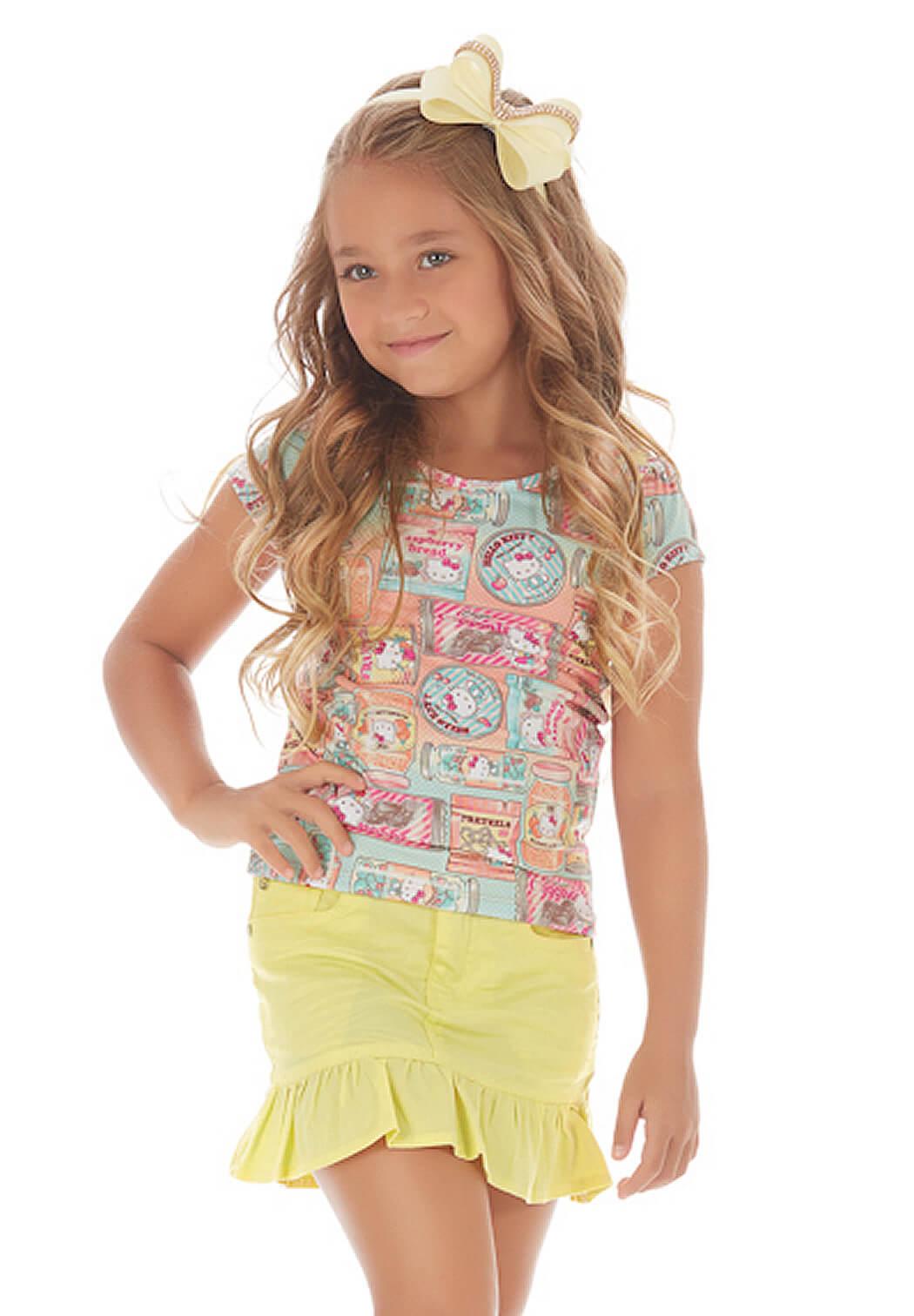 Conjunto Infantil Camiseta Hello Kitty Estampada e Minissaia Amarela 6anos