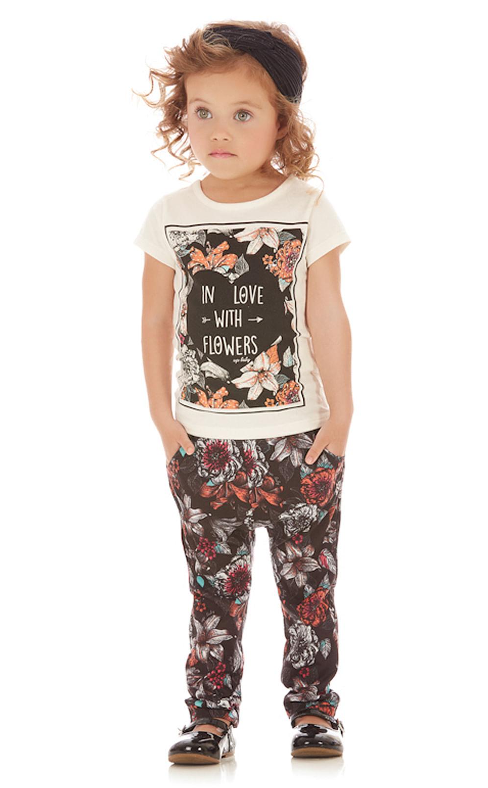 Conjunto Menina Camiseta Cotton e Calça Saruel Malha Estampada Flores Up Baby 1 ano