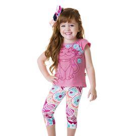 conjunto-menina-bata-gatinha-rosa-e-capri-estampada-loopy