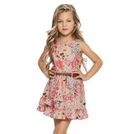 vestido-menina-cetim-flores-pessego-com-cinto-quimby