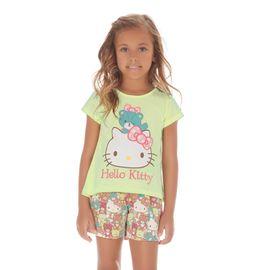 pijama-curto-infantil-hello-kitty-verde-limao