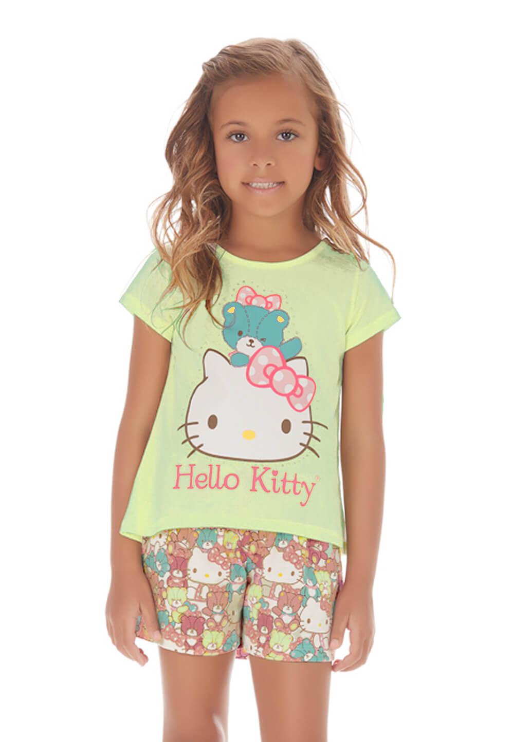 Pijama Curto Infantil em Malha Hello Kitty Verde Limão 8anos