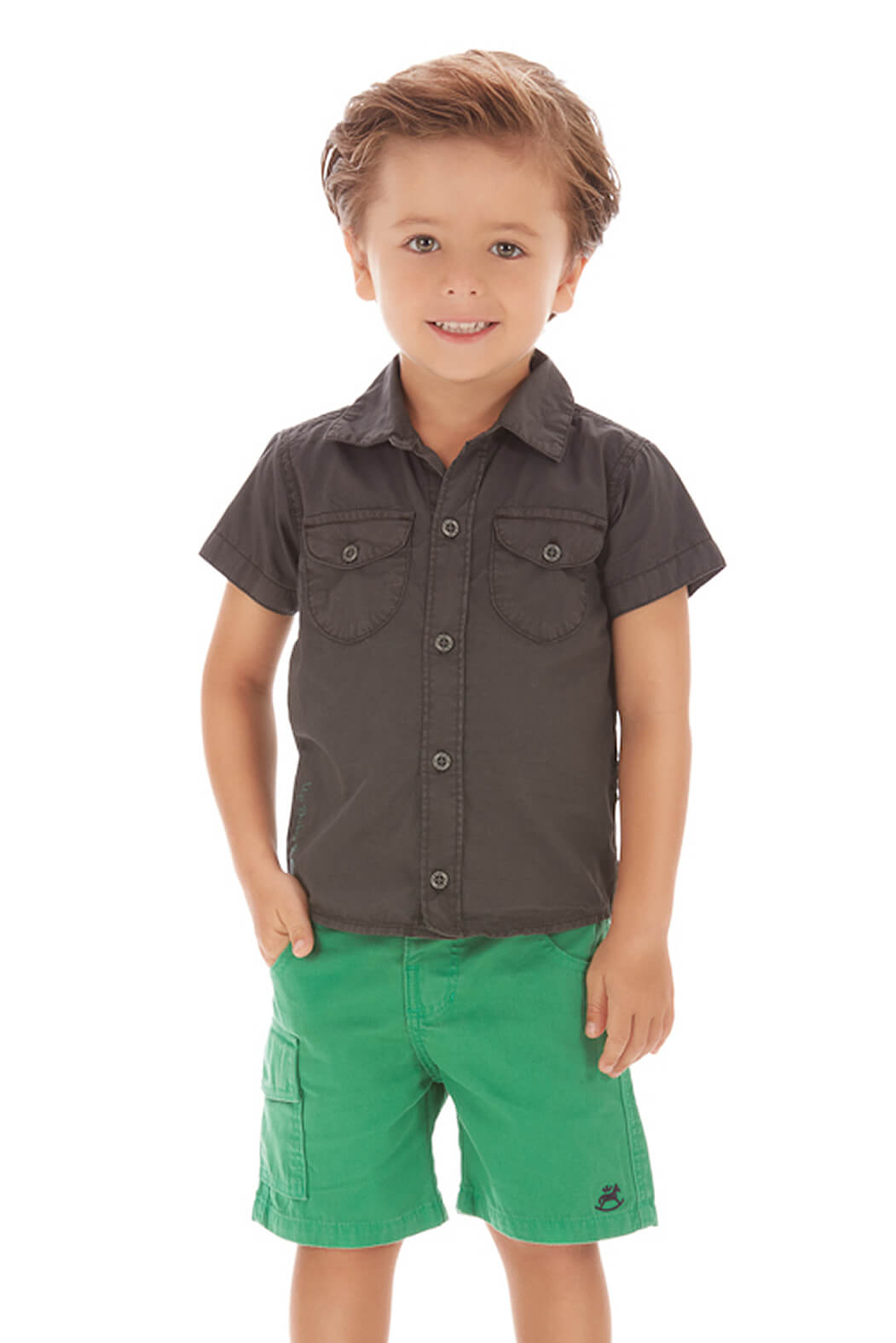 Conjunto Menino Camisa Grafite e Bermuda Sarja Verde Up Baby 2 anos