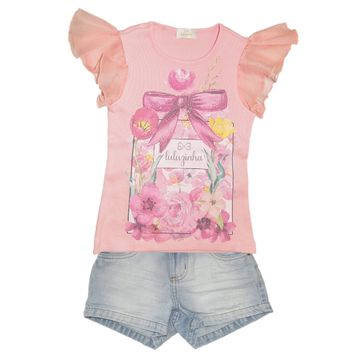 conjunto-menina-blusa-rosa-manga-babados-e-short-jeans-luluzinha