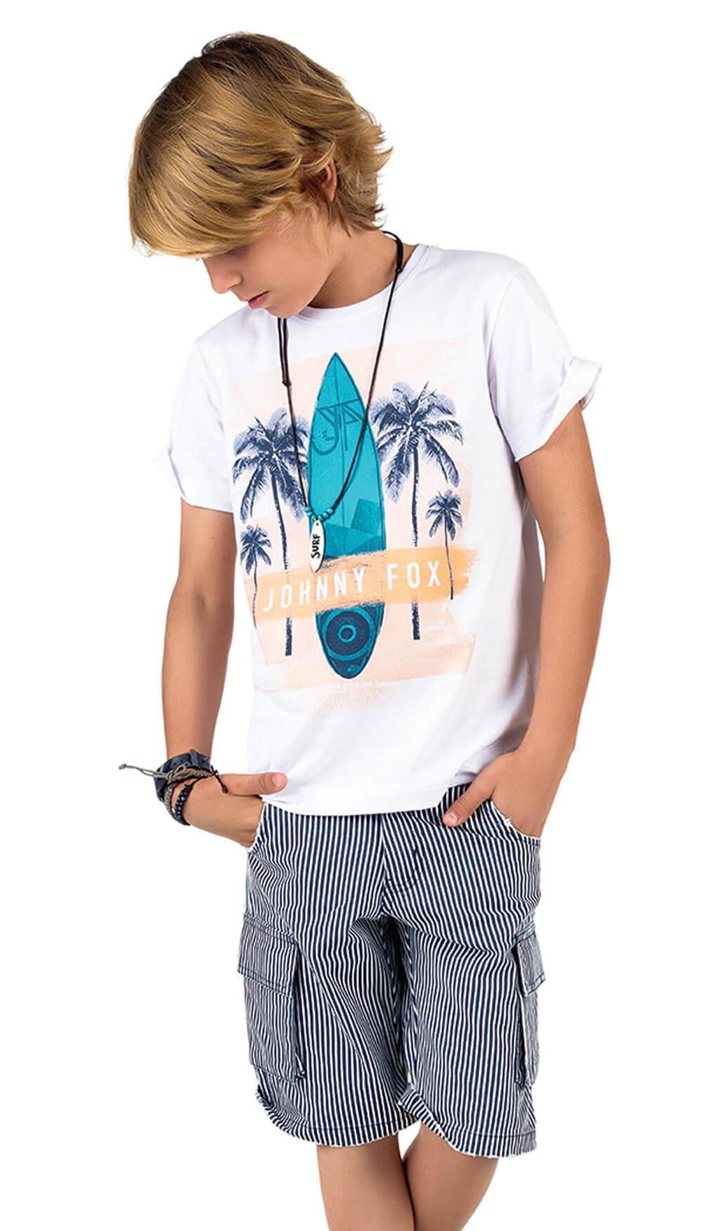 Conjunto Infantil Camiseta Branca Surf e Bermuda Jeans Listrada Azul e Branco Johnny Fox 6anos