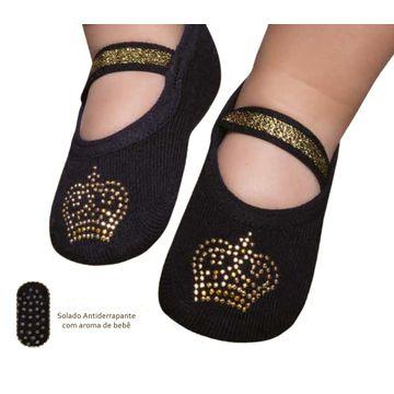 meia-sapatilha-baby-princesa-preta-com-dourado-puket