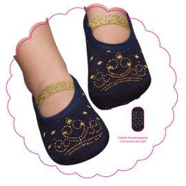 meia-sapatilha-baby-princesa-azul-marinho-com-dourado-puket