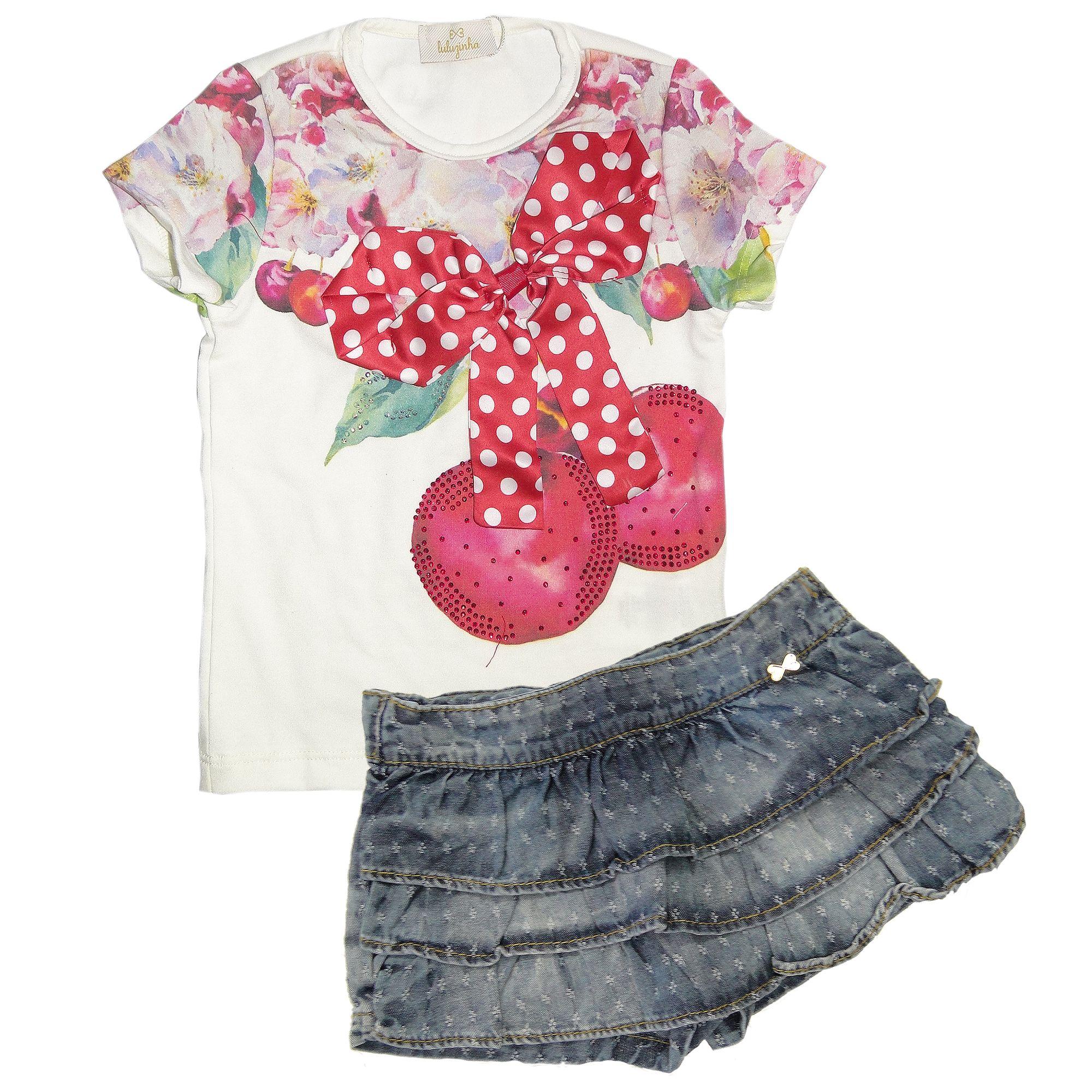 4f641aa1c81d69 Conjunto Menina Blusa Flores e Aplique de Laço e Short Saia Jeans ...