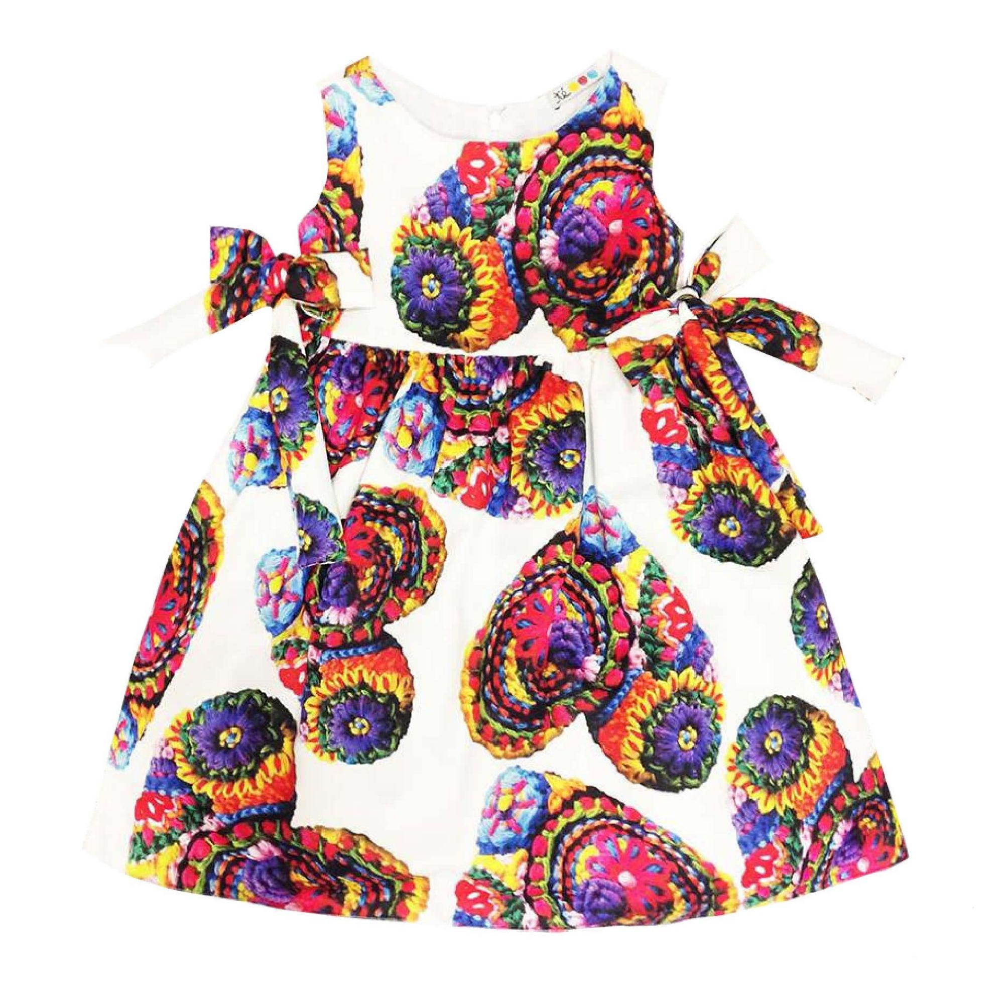 3062a8d433718a Vestido Infantil Rodado Branco Estampa Coração Bordado - Té Roupa de ...