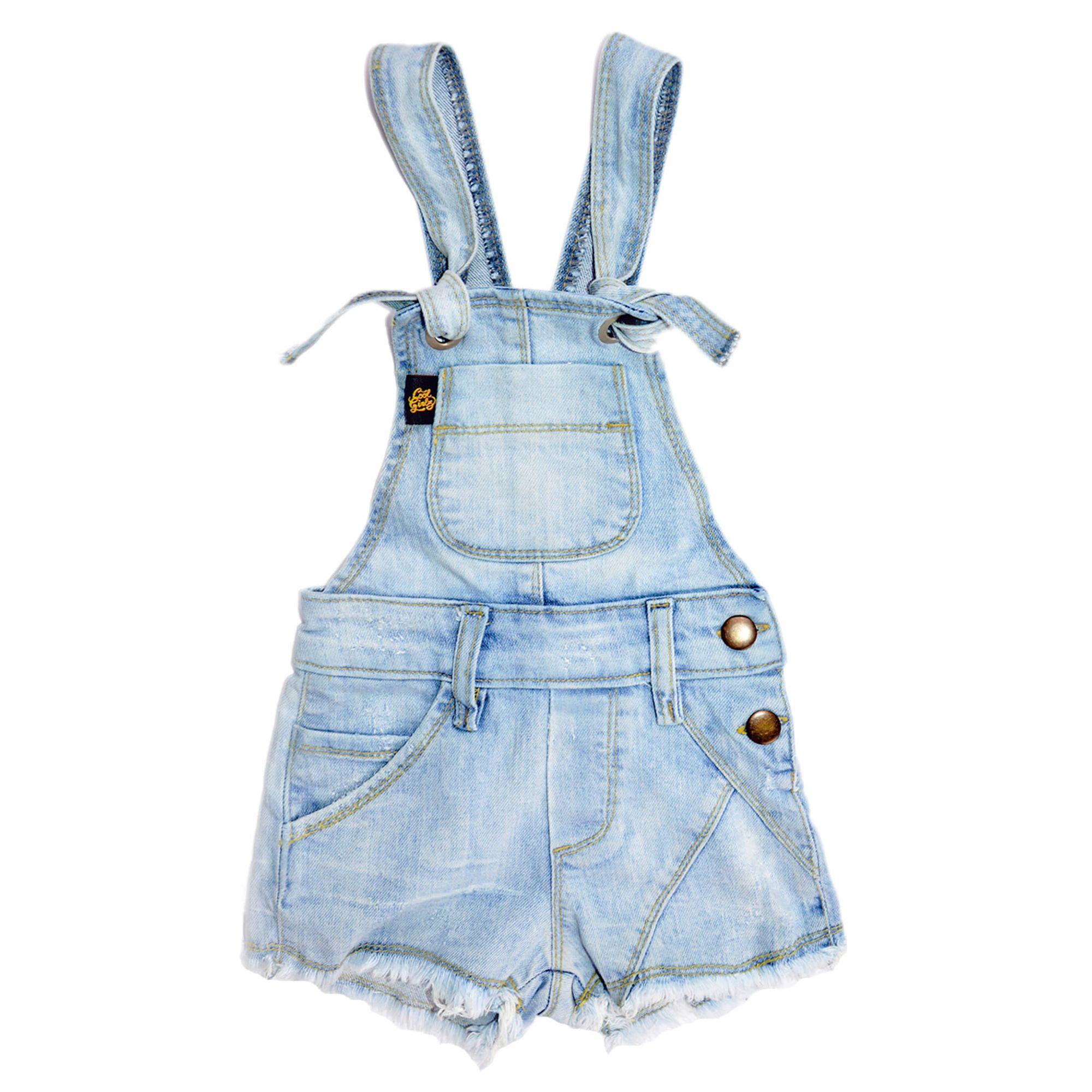 Jardineira infantil menina jeans claro cool girlz ecameleca for Jardineira jeans infantil c a