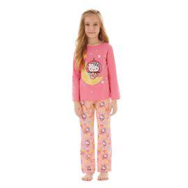 pijama-menina-hello-kitty-na-lua-manga-longa