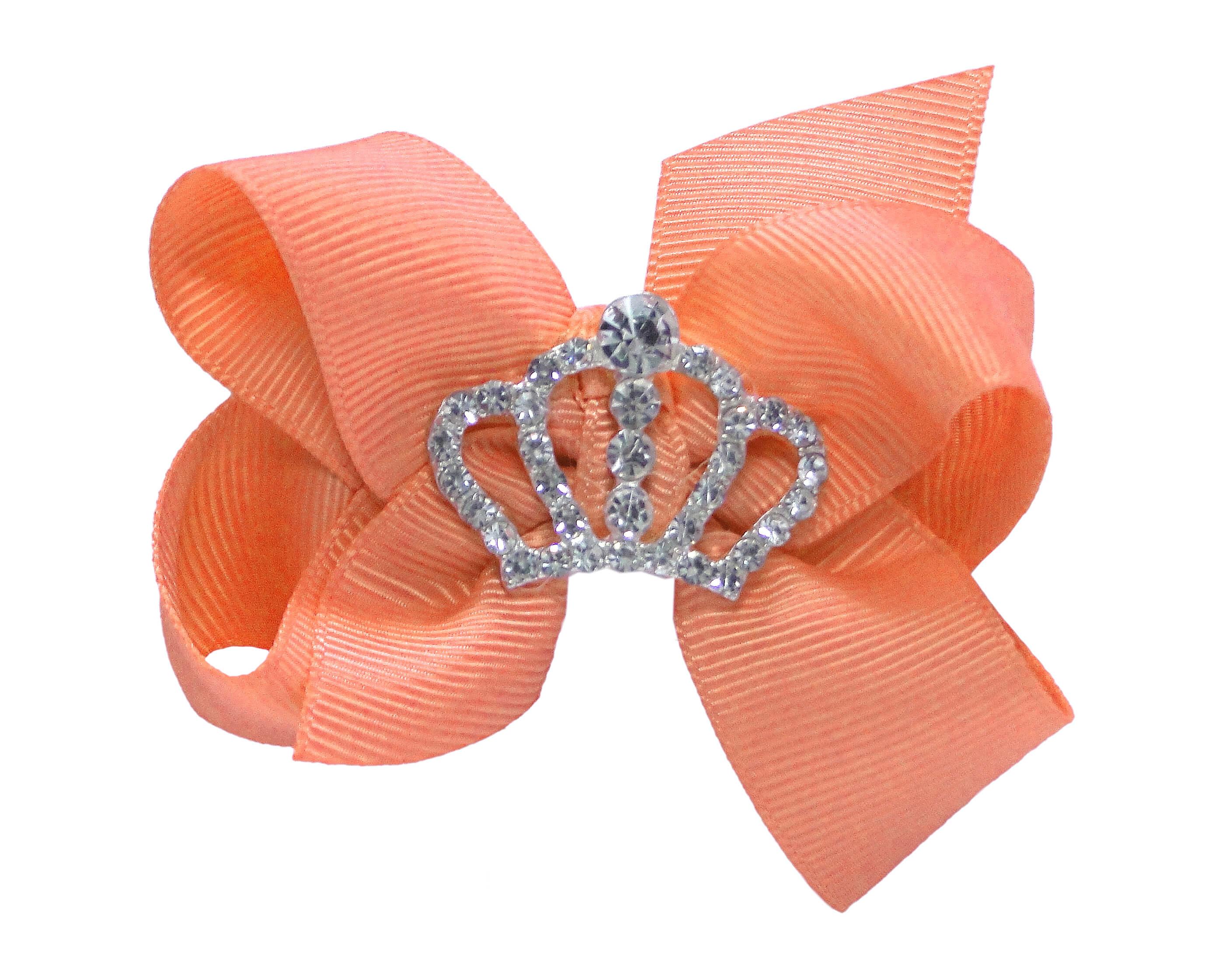 Laço Duplo Princesa Coroa Strass Pêssego M Laços da Sorte peach