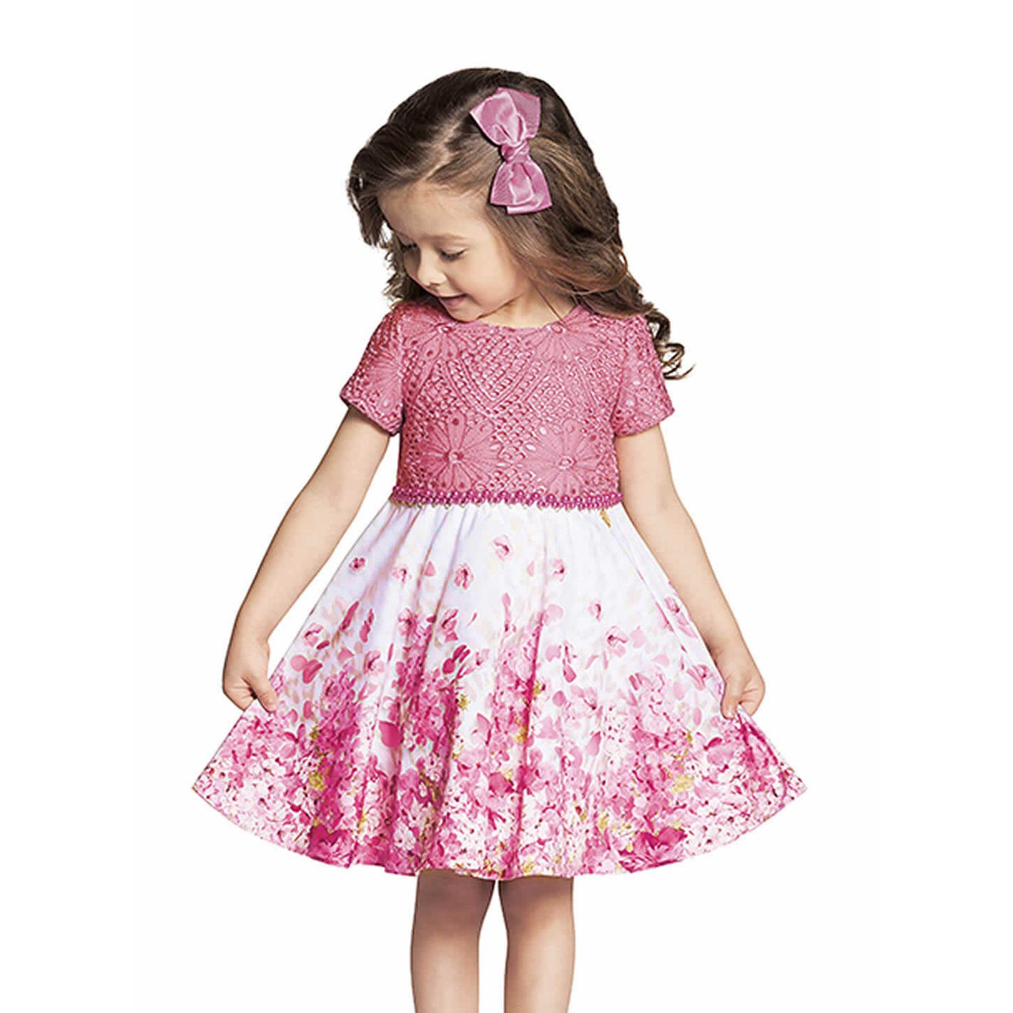 7a3568c3c530 Vestido Infantil Festa Corpo Renda Pink e Saia Florida Branco e Pink -  Ninali - EcaMeleca