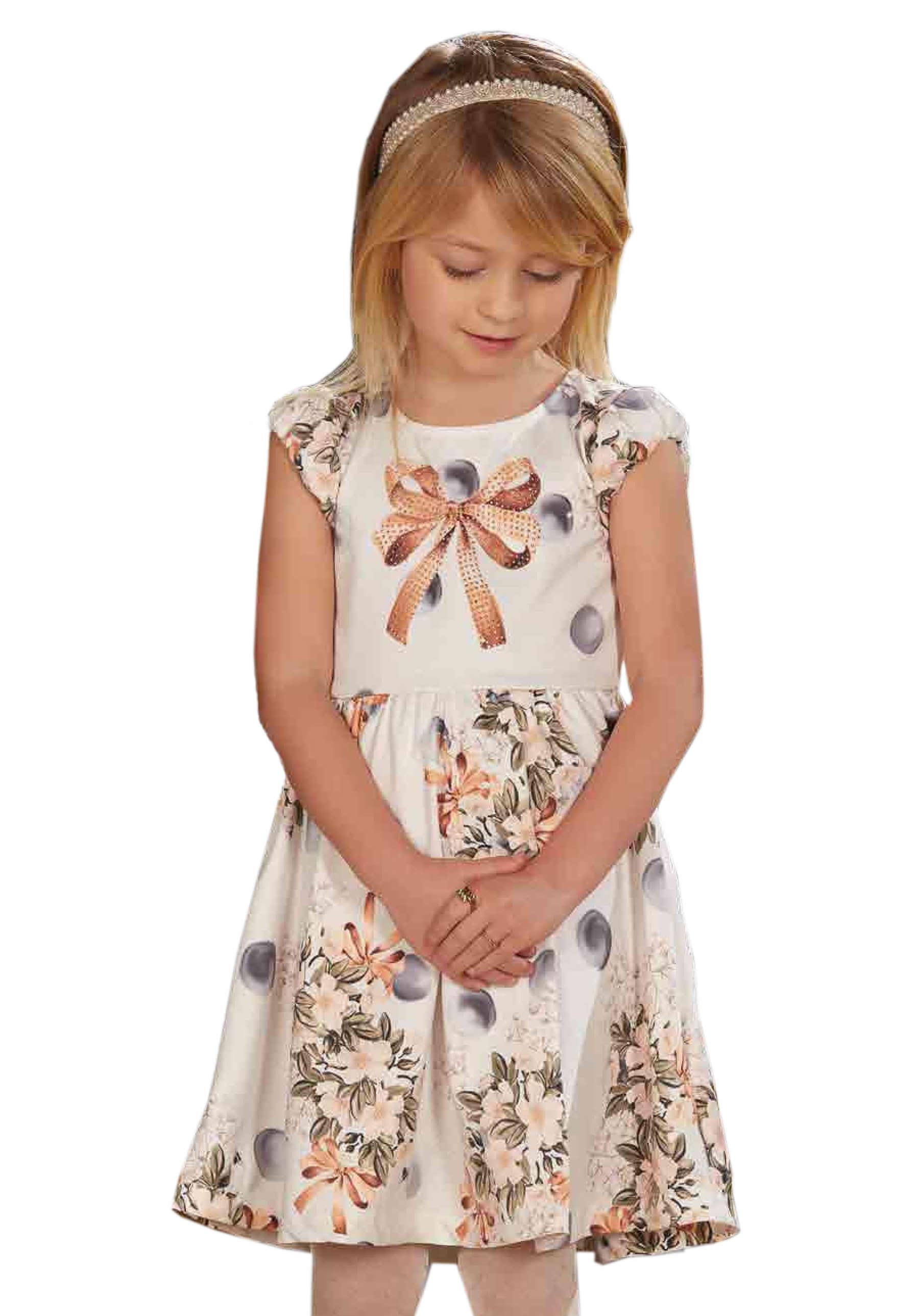 Vestido Infantil em Super Cetim Estampa Laço com Brilho e Flores - Infanti 4t