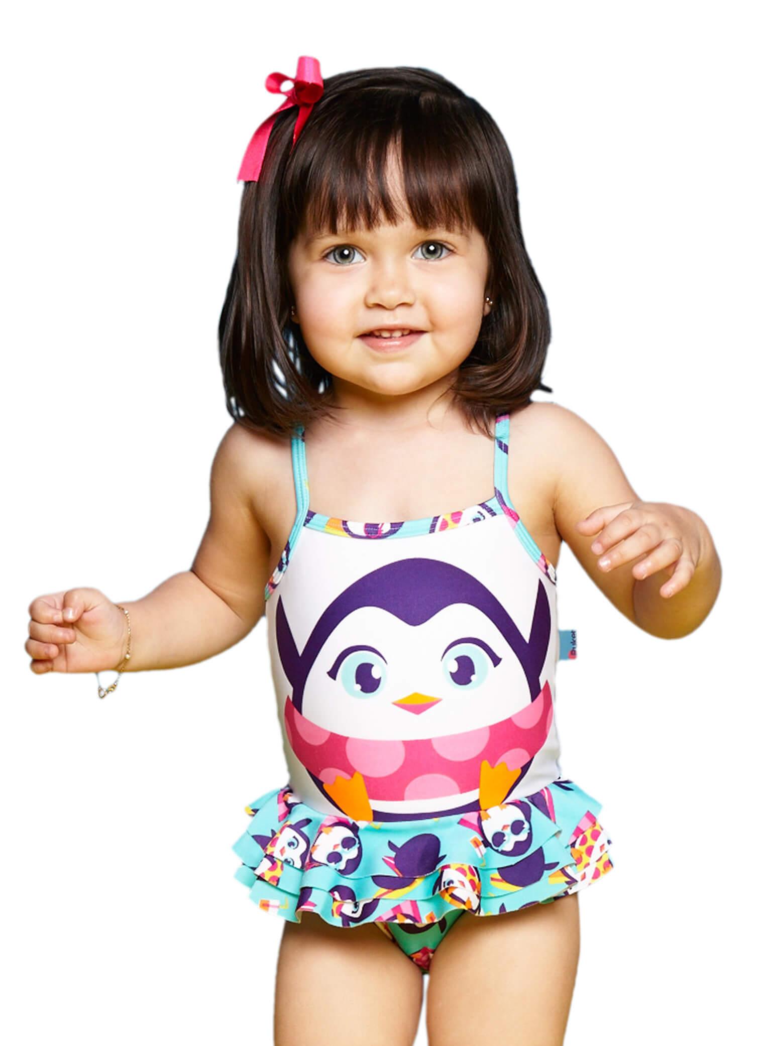 Maiô Baby Pinguim Estampado com Babados Puket GG