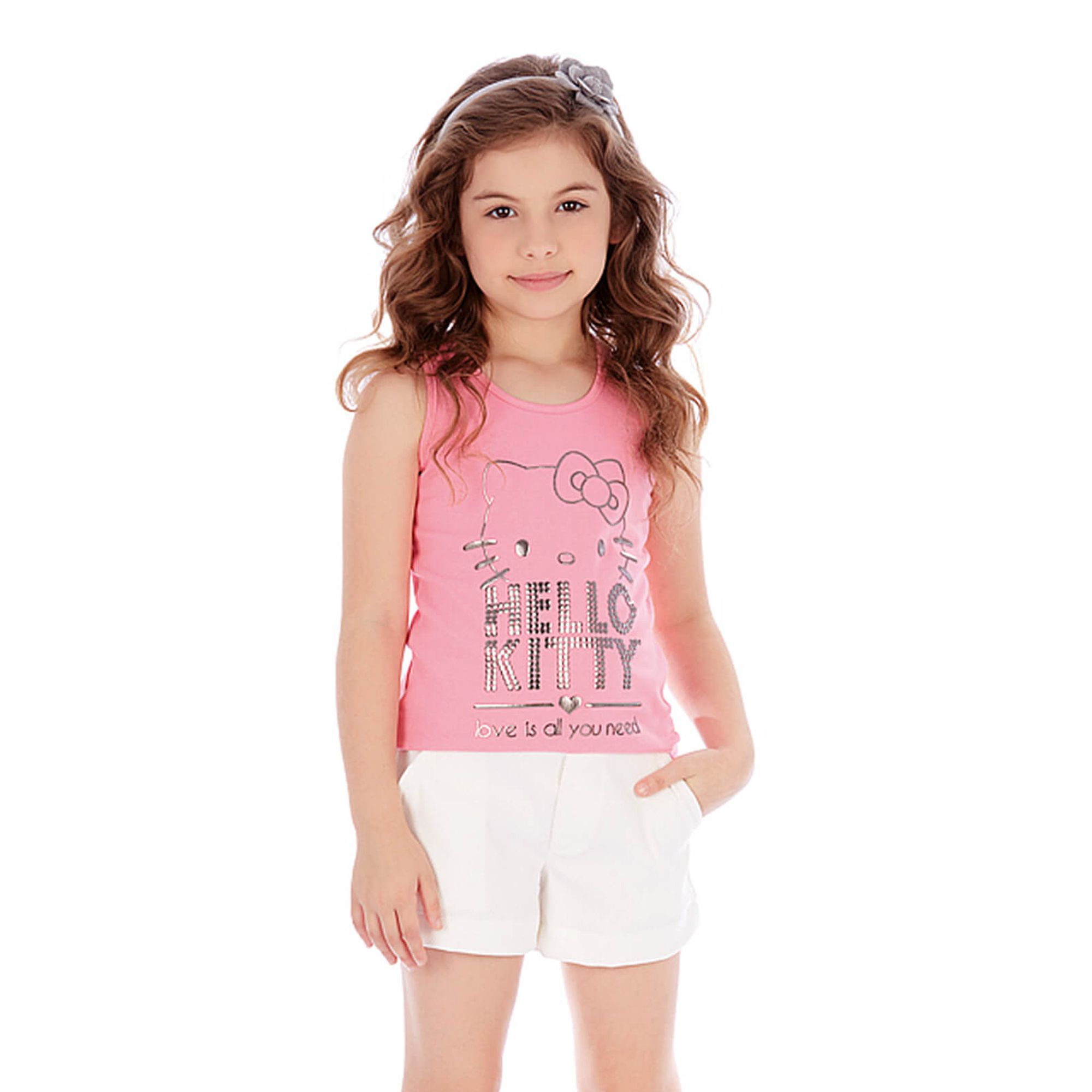 6c86c6ae61a7 Conjunto Infantil Hello Kitty Regata Rosa e Short Piquet Branco 6 anos