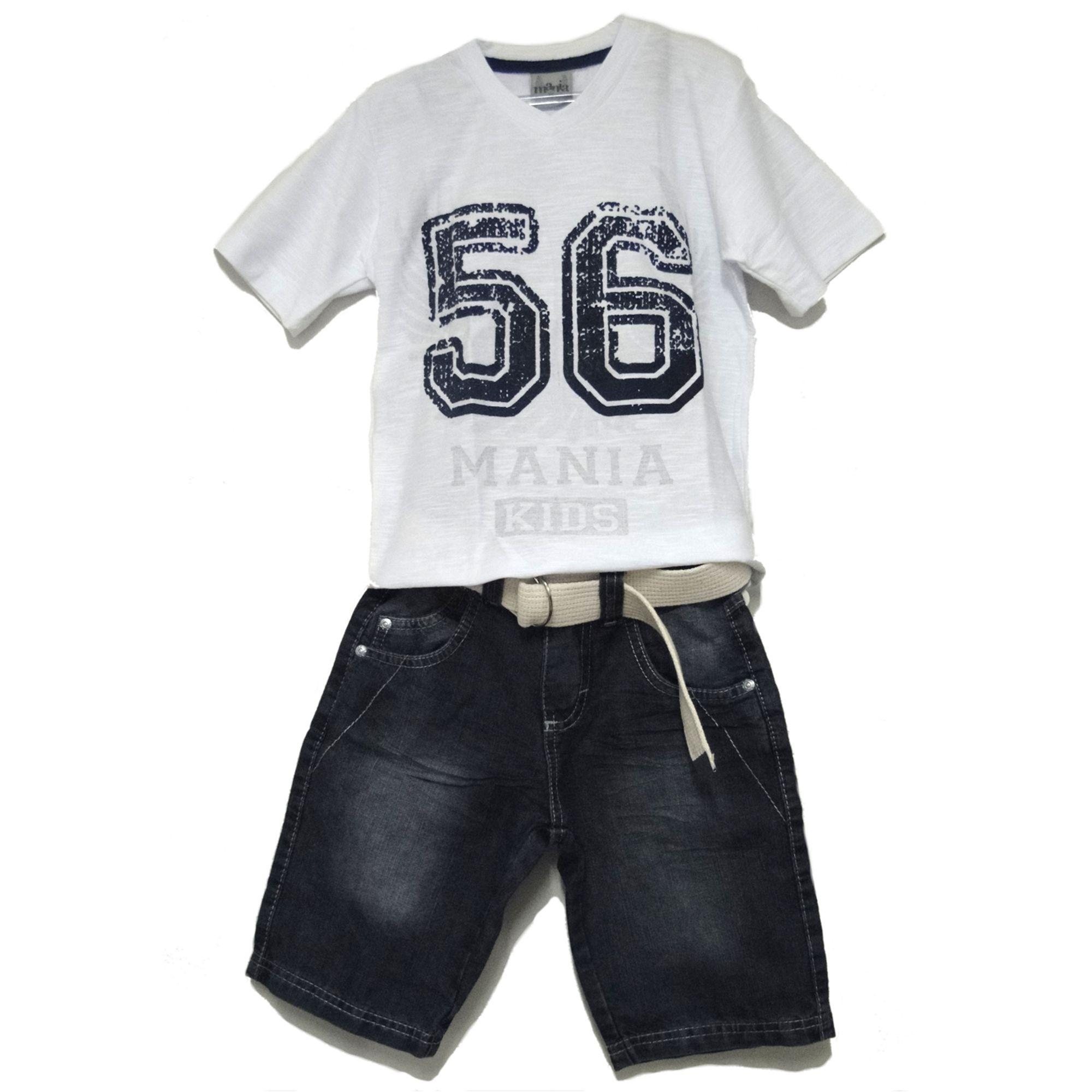 Conjunto Infantil Camiseta 56 Branca e Bermuda Jeans Cinto Bege - EcaMeleca 20844f4e0cb63