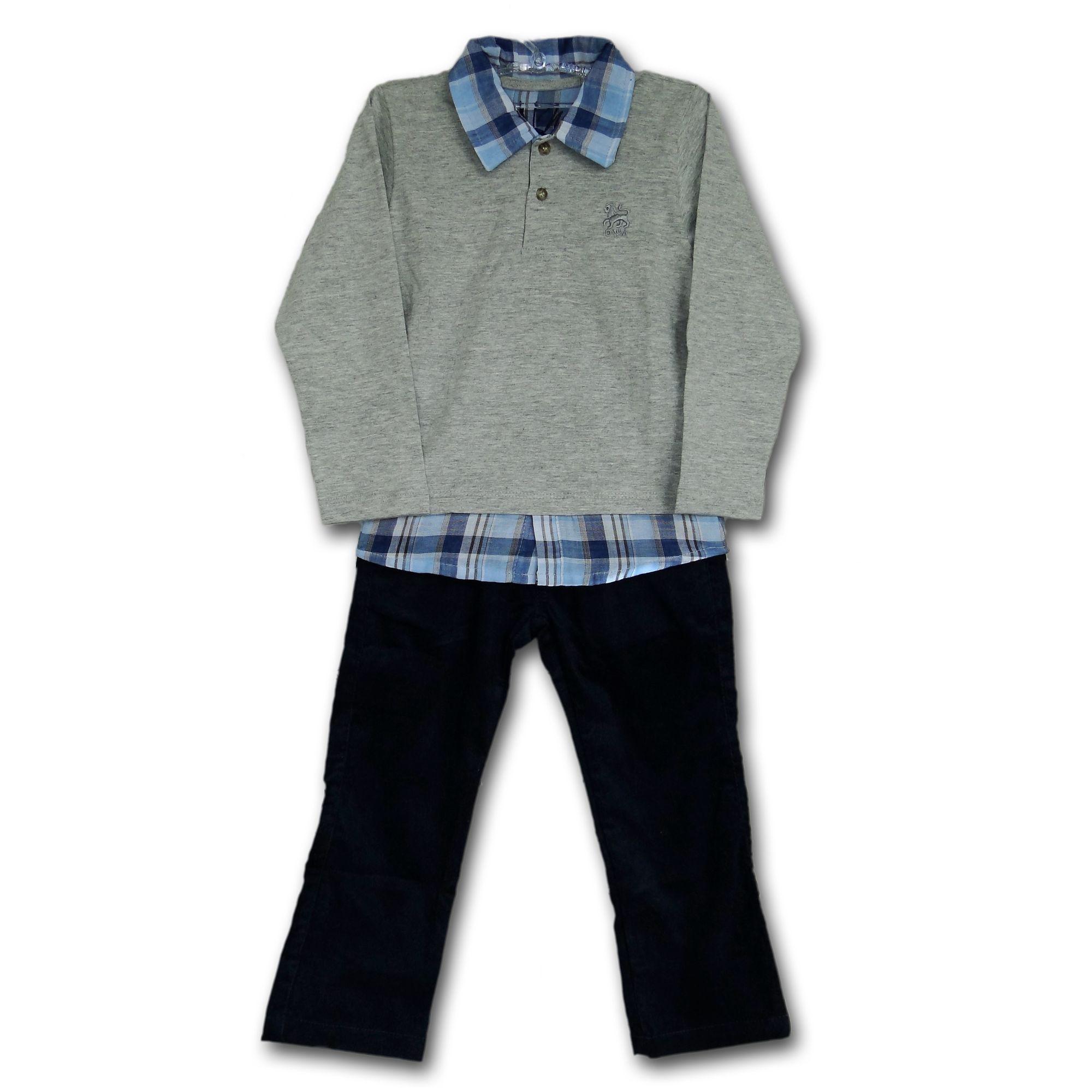 b6f66ad4ea Conjunto Infantil Camisa Cinza e Xadrez Azul e Calça em Veludo Azul Marinho  - EcaMeleca