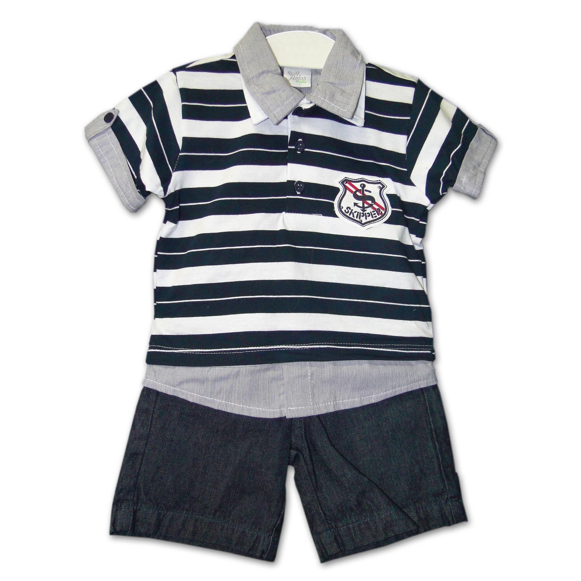 7a8e4c9930 Conjunto Infantil Camisa Polo Listrada Azul Marinho   Branca e Bermuda  Jeans - EcaMeleca