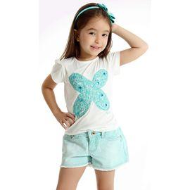 Conjunto Infantil Camiseta Borboleta e Short Estampado Verde Água 345d92a0383