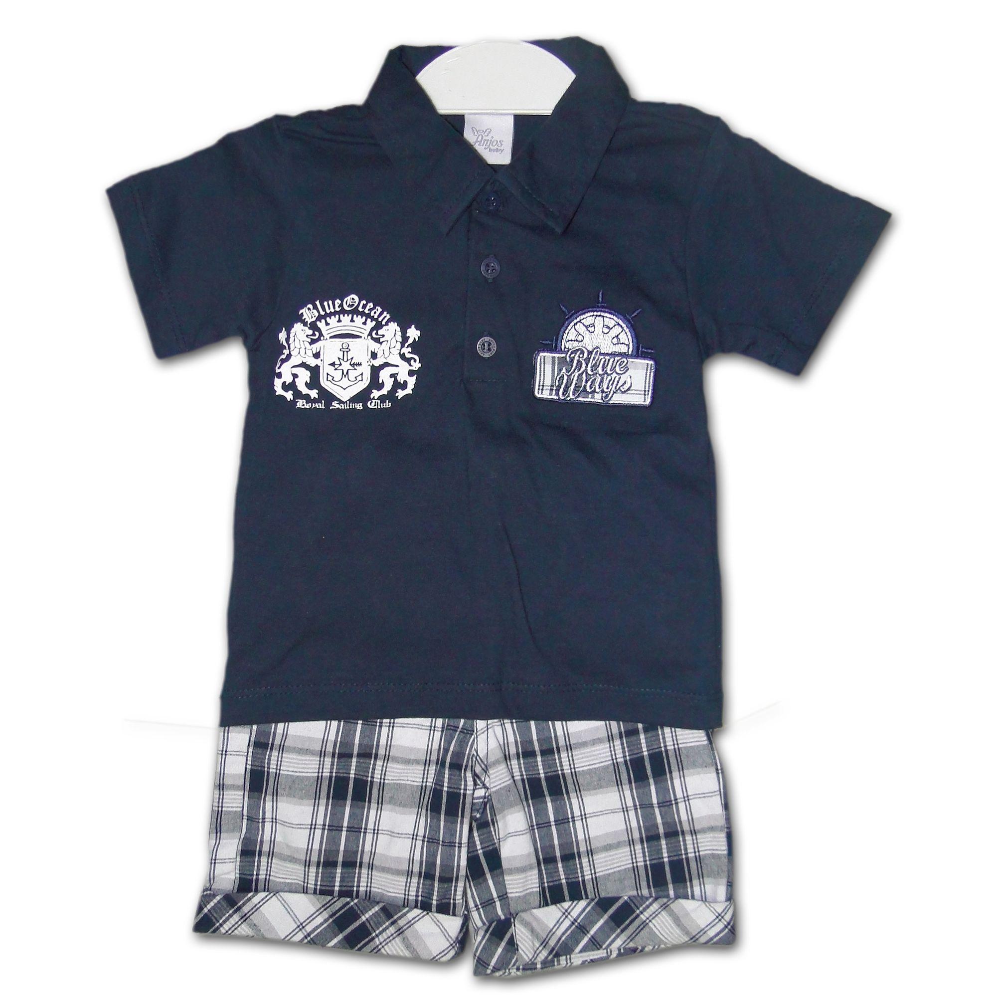 Conjunto Infantil Camisa Pólo Azul Marinho e Bermuda Xadrez - EcaMeleca cfa573e338525