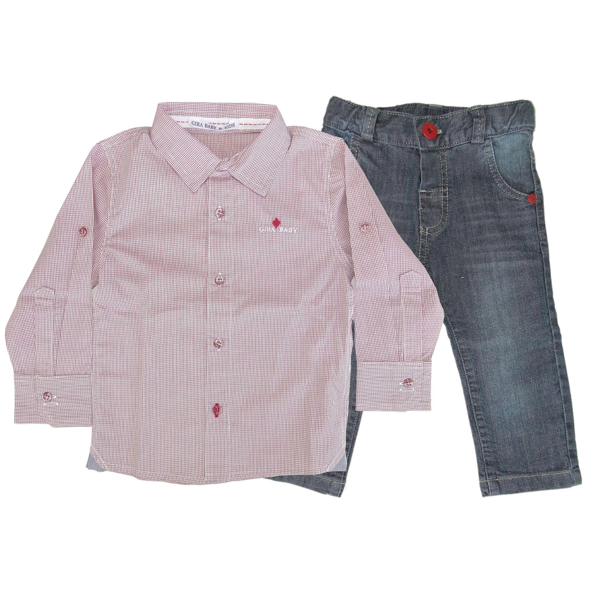 24675cb043 Camisa Infantil Xadrez e Calça Jeans - Roupas Infantis para Meninos é na  EcaMeleca Kids - EcaMeleca