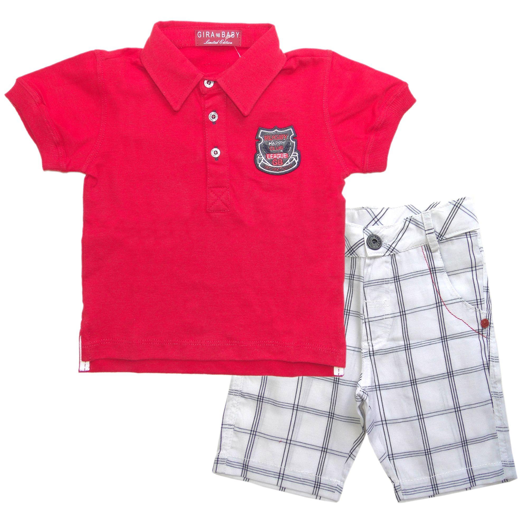 52bbb13d358 Conjunto Infantil Menino Polo Vermelha e Bermuda Xadrez - Roupas ...