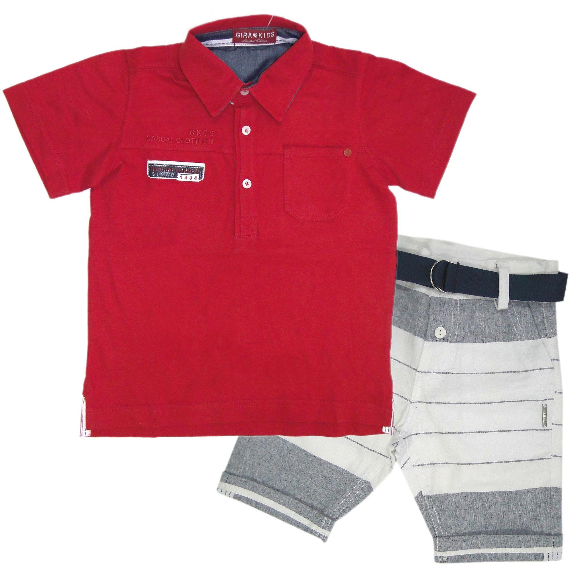 Conjunto Infantil Menino Polo Vermelha e Bermuda Listrada - Roupas Infantil  EcaMeleca Kids - EcaMeleca 5b24364bdcec4