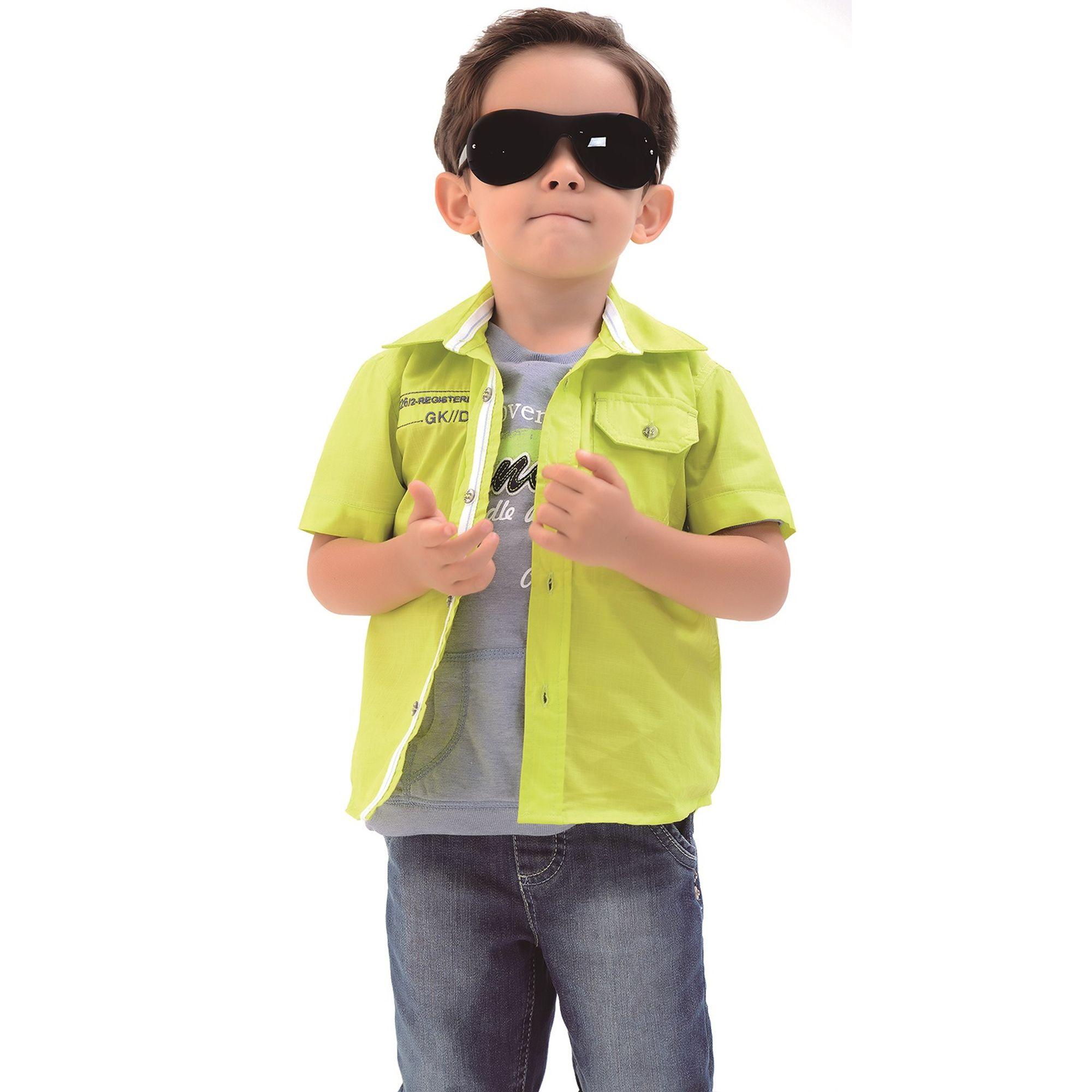 952d64a1f5 Conjunto Infantil Menino Camisa Cítrica e Bermuda Jeans - Roupas Infantil  EcaMeleca Kids - EcaMeleca