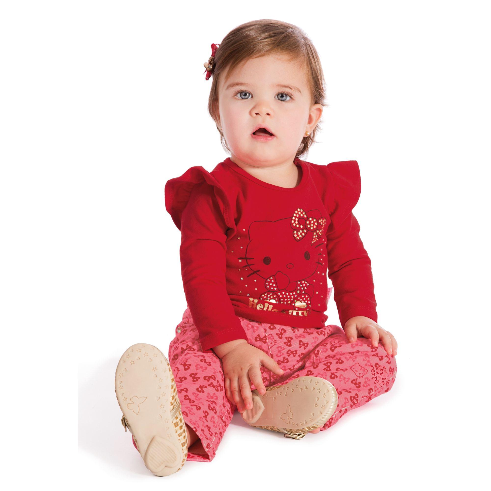 Conjunto Camiseta Cotton Vermelha e Calça Veludo - Roupa para Bebê é na EcaMeleca  Kids - EcaMeleca 007f39e131077