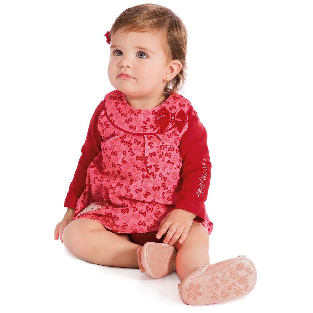 8596f3b53f Vestido Bebê Veludo e Camiseta Vermelha Hello Kitty - Roupa para ...