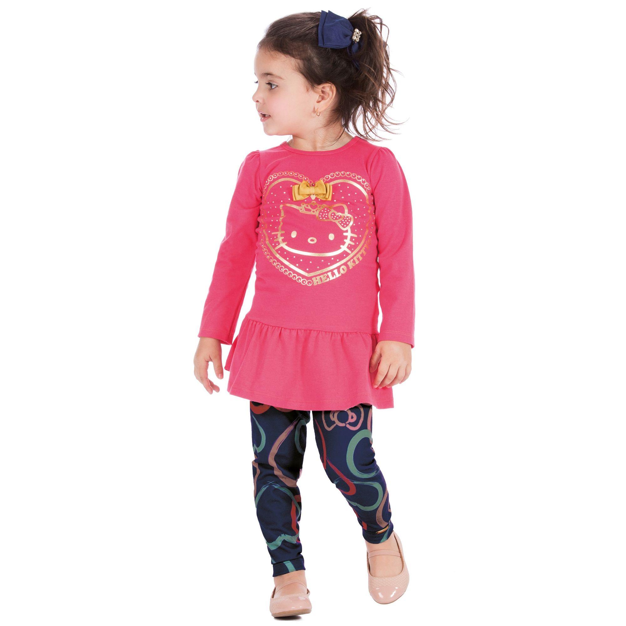 94ab8d3061 Camiseta Pink Menina Coração Dourado e Legging Cotton Estampado Hello Kitty  - Roupas Infantis para Meninas EcaMeleca Kids - EcaMeleca
