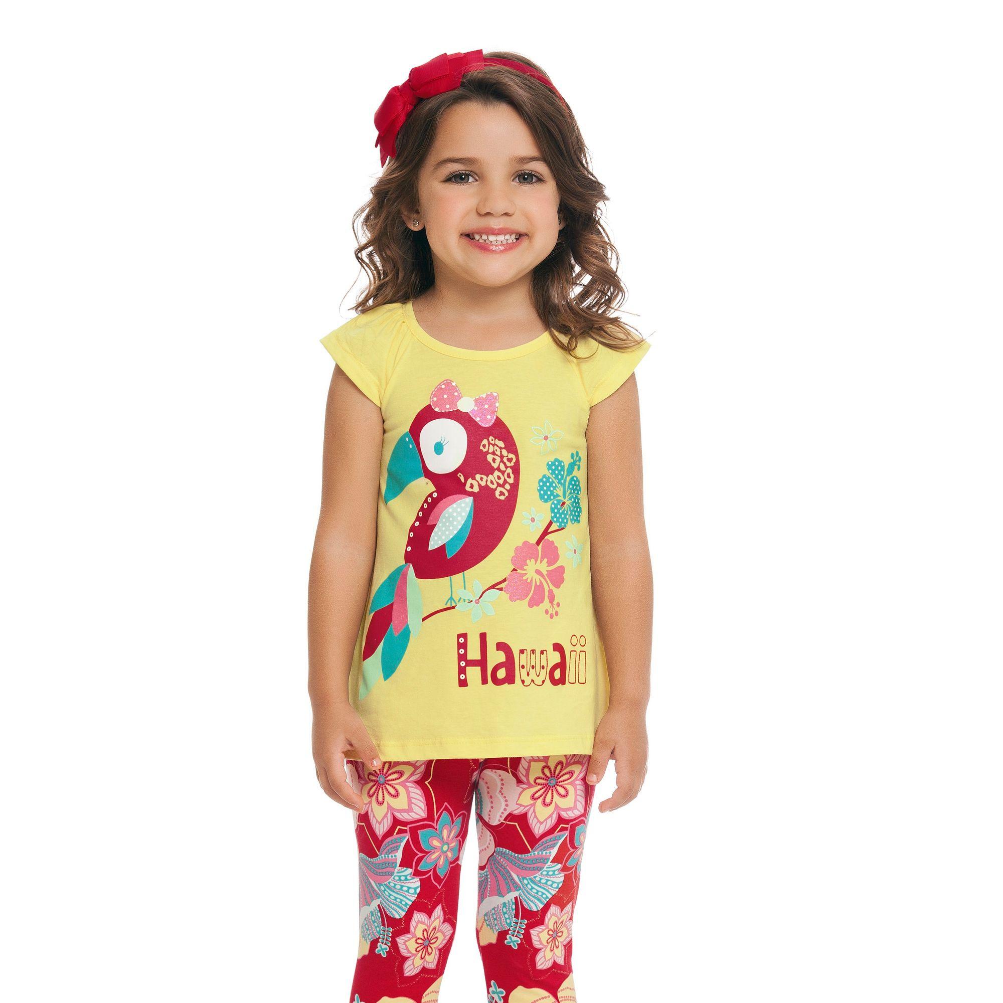 conjunto-menina-camiseta-amarela-hawaii-e-legging-flores-loopy