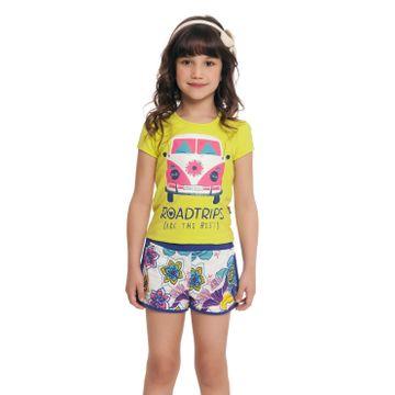 conjunto-menina-camiseta-verde-limao-kombi-brilho-e-short-florido-loopy-de-loop