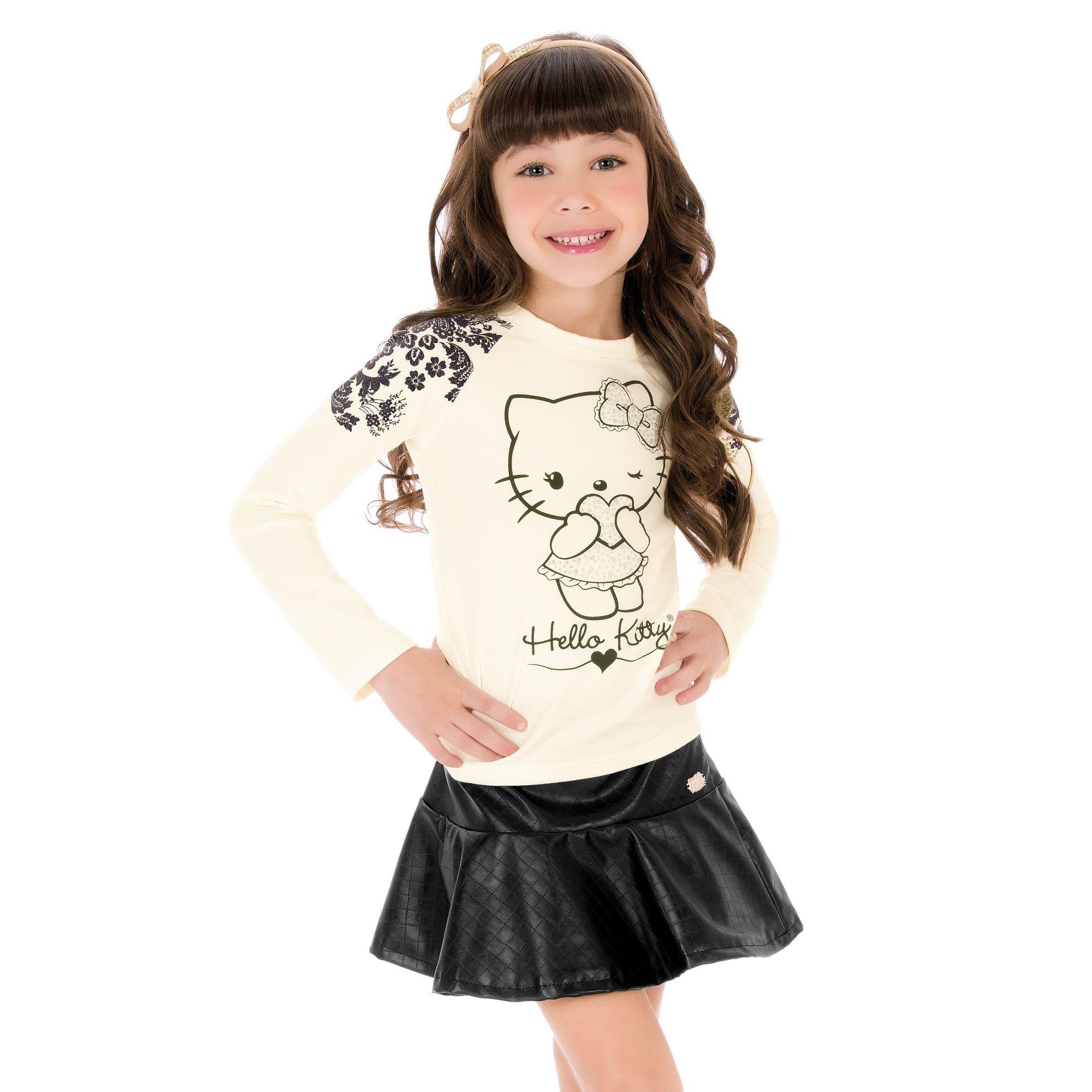 cafef2653 Camiseta Manga Longa Branca e Preta e Saia Corino Rodada Hello Kitty -  Roupa para Menina é na EcaMeleca Kids - EcaMeleca