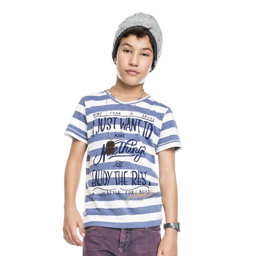Camiseta Infantil Manga Curta em Malha Listrada Azul Johnny Fox EcaMeleca  Kids Meninos EcaMeleca 8af1c77a734