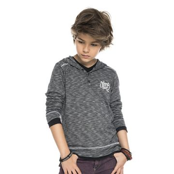 camiseta-infantil-malha-rajada-cinza-com-capuz-johnny-fox