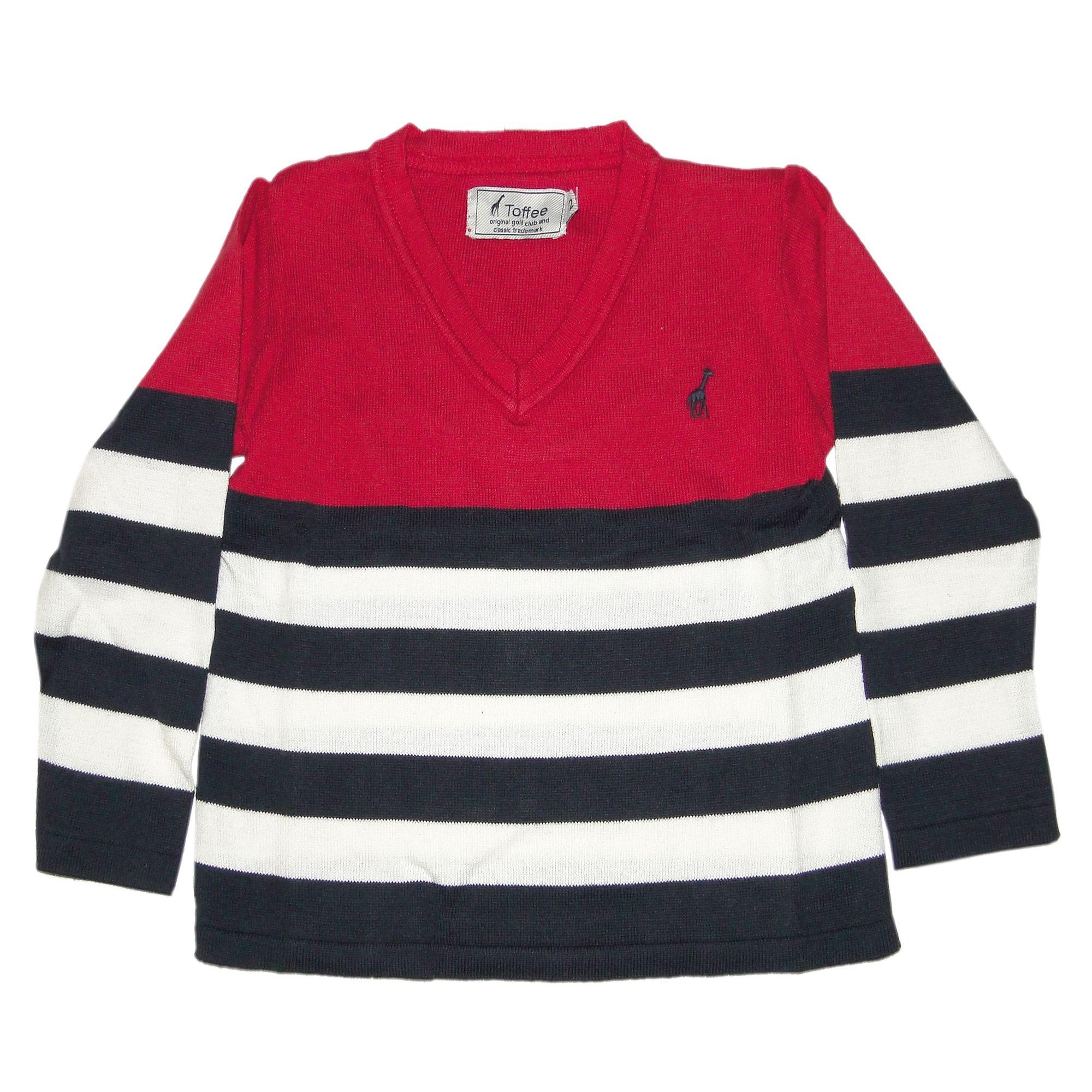 Suéter Infantil em Tricô Listras Largas Vermelho df603c2e32c