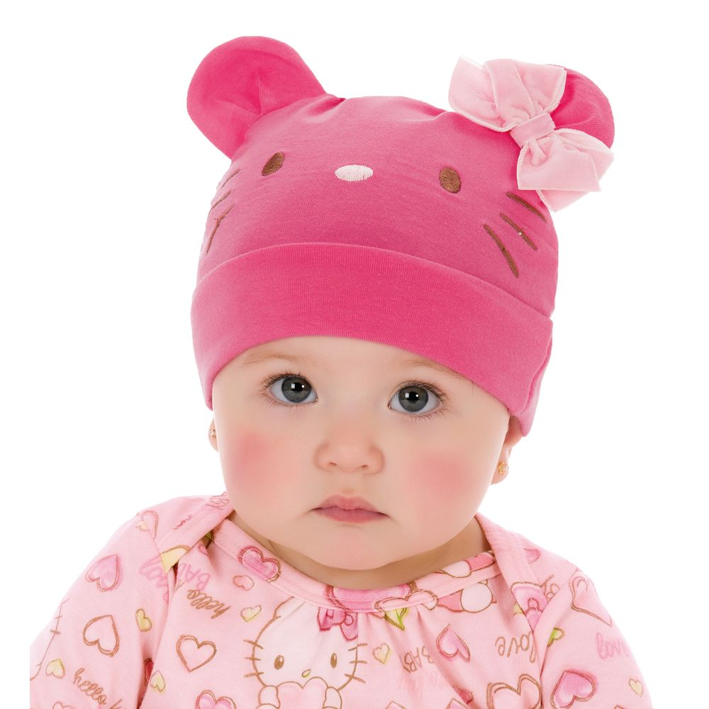 Touca para beb em cotton hello kitty pink toucas e - Hello kitty bebe ...