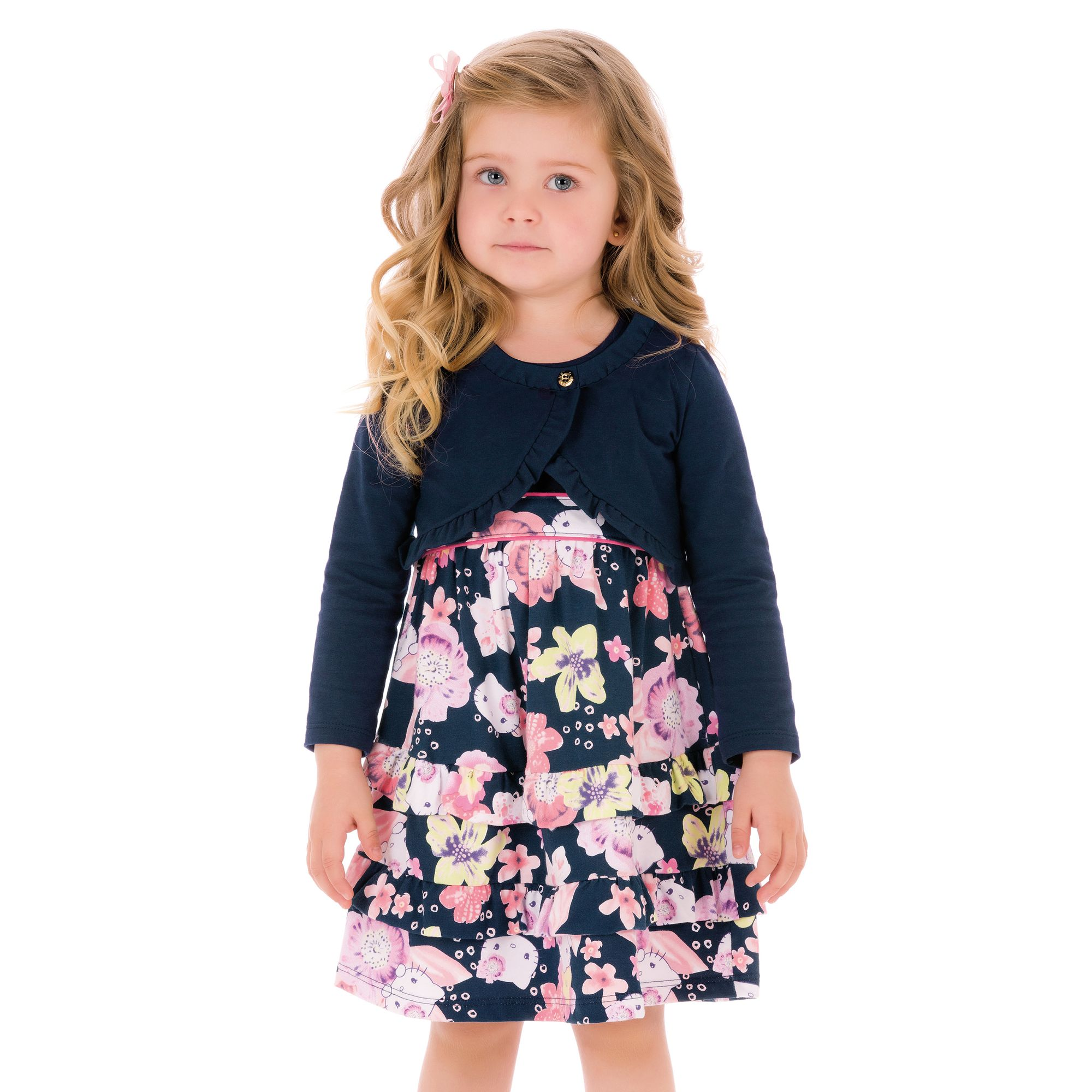 e64a674873 Conjunto Infantil Bolero e Vestido Estampado Azul Marinho e Rosa Hello Kitty  - Roupas para Meninas é na EcaMeleca Kids - EcaMeleca